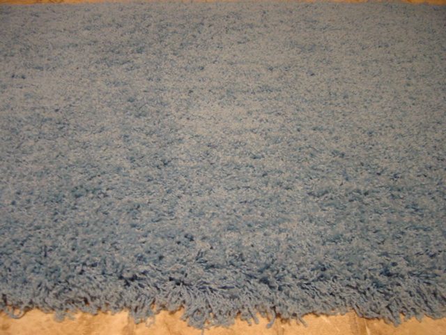 Country Blue Wool Shag Rug